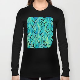 Split Leaf Philodendron – Turquoise Long Sleeve T-shirt