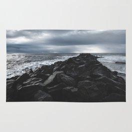 Rocky Pier in Vík, Iceland Rug