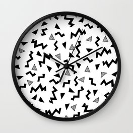 Geo Shapes black and white minimal pattern basic nursery home decor patterns Wall Clock