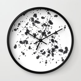 Paint Splatter On White Wall Clock