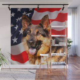 German shepherd Dog Patriot Red Blue White Wall Mural