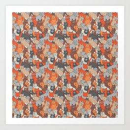 Cats pattern Art Print
