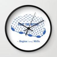 regina mills Wall Clocks featuring Regina Sassy Mills | Filet the bitch! by CLM Design