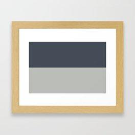 BM 2019 Color of Year Metropolitan AF-690 & Hale Navy Blue Gray HC-154 Horizontal Stripes Blocks Framed Art Print