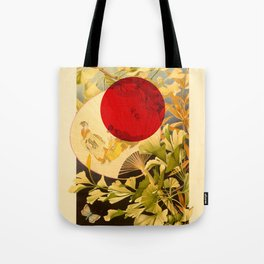 Japanese Ginkgo Hand Fan Vintage Illustration Tote Bag