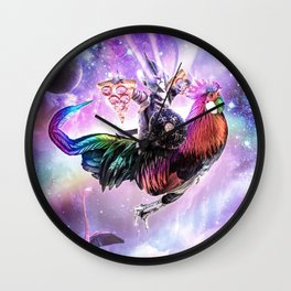 Laser Warrior Space Cat On Chicken Eating Pizza Wall Clock