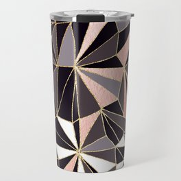 Stylish Art Deco Geometric Pattern - Black, Coral, Gold #abstract #pattern Travel Mug