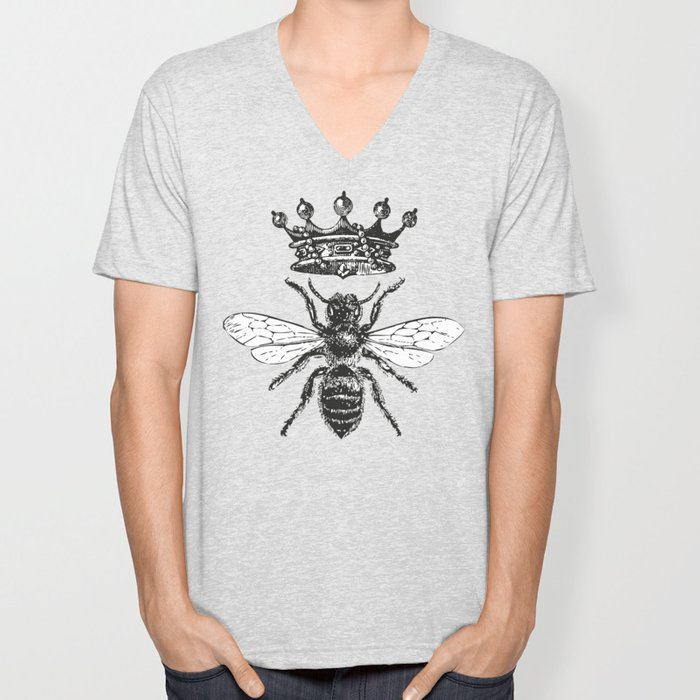 Queen Bee | Vintage Bee with Crown | Black and White | Unisex V-Neck