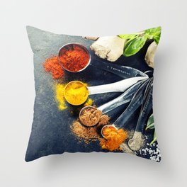 Herbs and spices selection, close up Throw Pillow