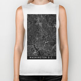 Washington D.C. Black Map Biker Tank