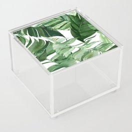 Green leaf watercolor pattern Acrylic Box