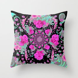 CERISE PINK ROSES & TURQUOISE RIBBONS ON BLACK Throw Pillow
