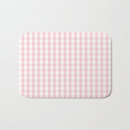 White and Light Millennial Pink Pastel Color Gingham Check Bath Mat