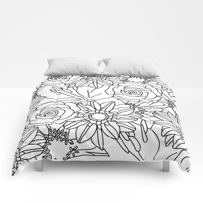 FLOWERS OF SUMMER B/W COLOUR IN Comforters