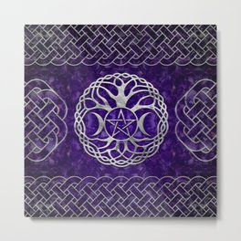 Triple Goddess with pentagram and tree of life Metal Print