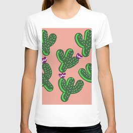 Prickly Cactus with Purple Flowers T-shirt