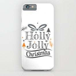 Holly Jolly Christmas Holiday Illustration iPhone Case