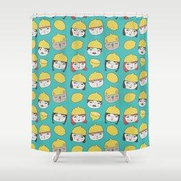 Pattern Project #10 /Lemon Hats Shower Curtain