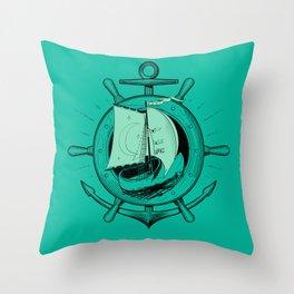 Anchor Wheel & Wooden Sailer Throw Pillow