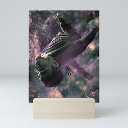 Superhero Chasing Spacecraft Sci-fi Scene Mini Art Print