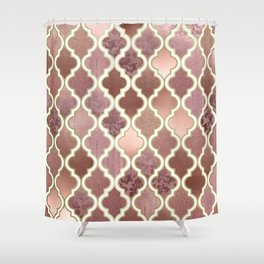 Rosegold Pink and Copper Moroccan Tile Pattern Shower Curtain