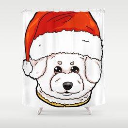 Bichon Frise Dog Christmas Hat Present Shower Curtain
