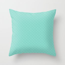 Aqua Blue Quilted Pattern Throw Pillow