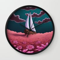 pushing daisies Wall Clocks featuring Pushing Daisies by slewisillustration