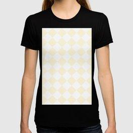 Large Diamonds - White and Cornsilk Yellow T-shirt