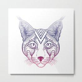 Illustration of an Ornamental Ethnic Lynx Head. head Siberian lynx. Metal Print