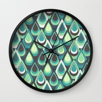 feathers Wall Clocks featuring Feathers by Kakel