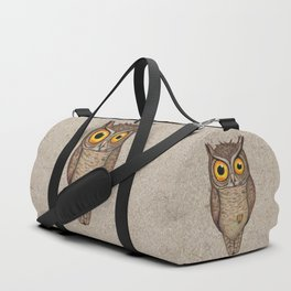 Great horned owl on cardboard Duffle Bag