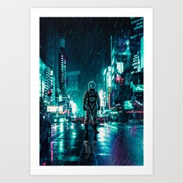 Another Rainy Night ( The Continuous Tale Of The Lost Astronauta) Art Print