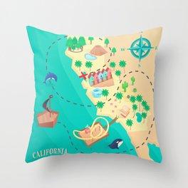 California Treasure Map Throw Pillow