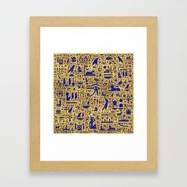 Egyptian hieroglyphic Lapis Lazuli and Gold Framed Art Print