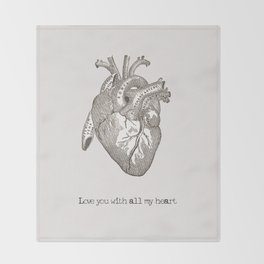 Love you with all my heart vintage illustration Throw Blanket