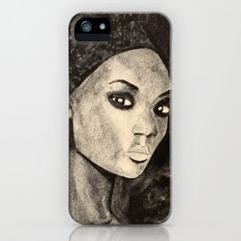 Girl with a hair scarf iPhone Case