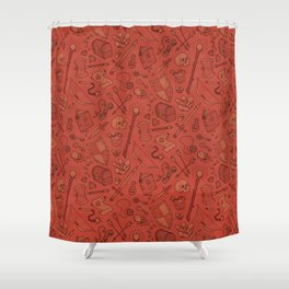 Inventory in Red Shower Curtain
