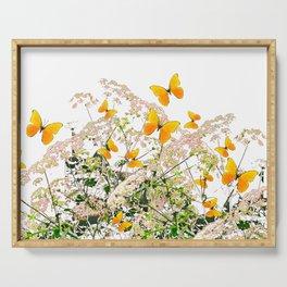 WHITE ART GARDEN ART OF YELLOW BUTTERFLIES Serving Tray