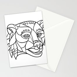 Grizzly Bear Head Mosaic Black and White Stationery Cards