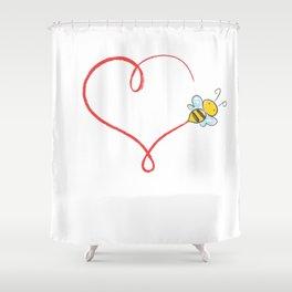 Heart Bumblebee Bee Trajectory Honey Gift Shower Curtain