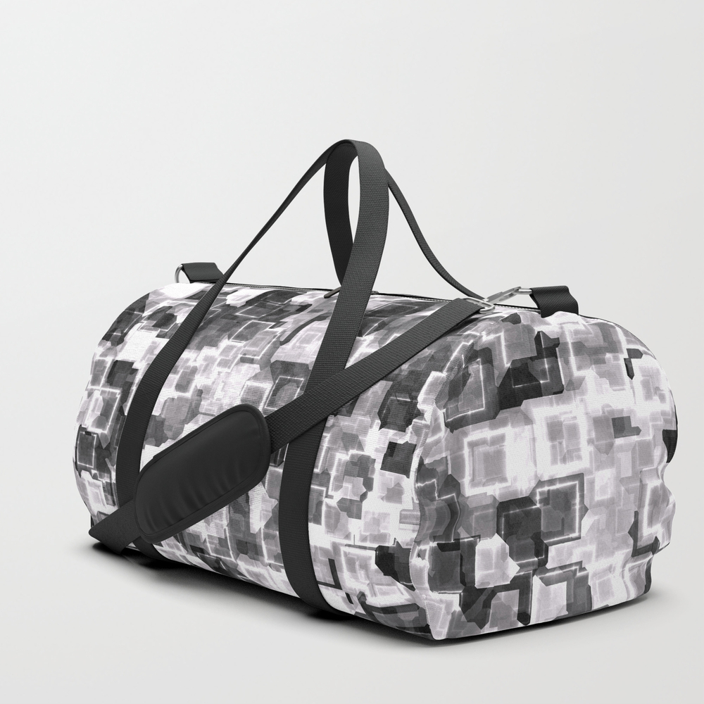 White Cyber Glow Neon Squares Pattern Duffle Bag by Textures DFL8905819