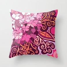 zentangle inspired Hortensia_rose pink doodle Throw Pillow