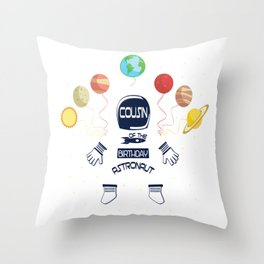 Cousin Of The Birthday Astronaut Boy And Girl Space Theme product Throw Pillow