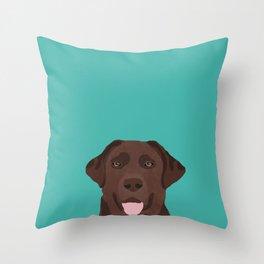 Chocolate Lab peeking dog head labrador retriever must have funny dog breed gifts Throw Pillow