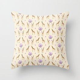 Giraffes And Flowers Throw Pillow