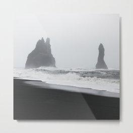 Iceland Black Sand Beach #2 - Abstract Minimalist Black and White Photo Print Metal Print