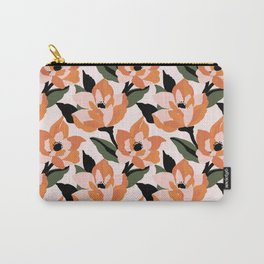 Bold orange poppy on a soft pink base Carry-All Pouch