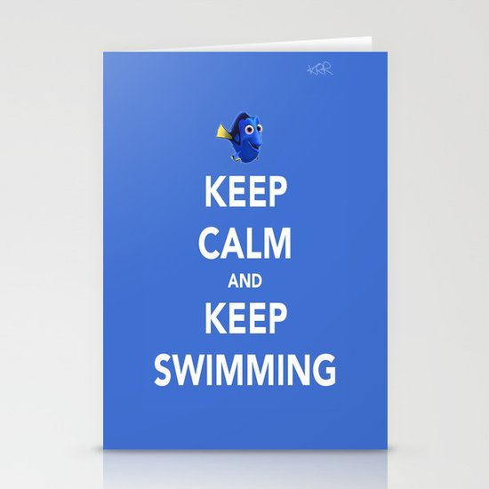 Keep Calm And Keep Swimming Stationery Cards