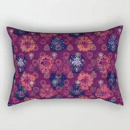 Lotus flower - fire on mulberry woodblock print style pattern Rectangular Pillow
